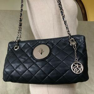 DKNY black quilted leather purse